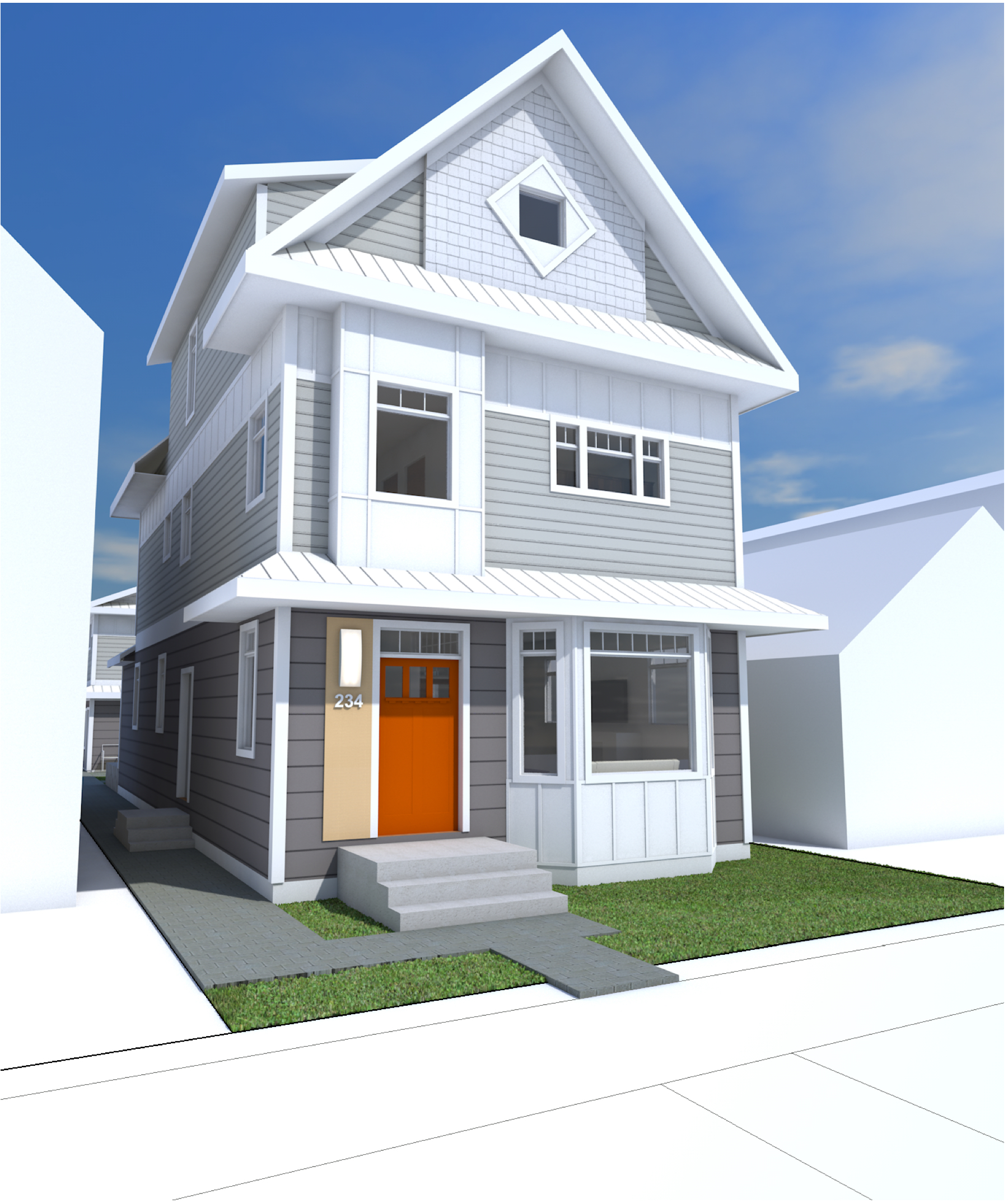 Rendering of exterior of a 3 storey infill house in a light grey neutral colour scheme with bright orange front door, bay windows and light colour metal roof.
