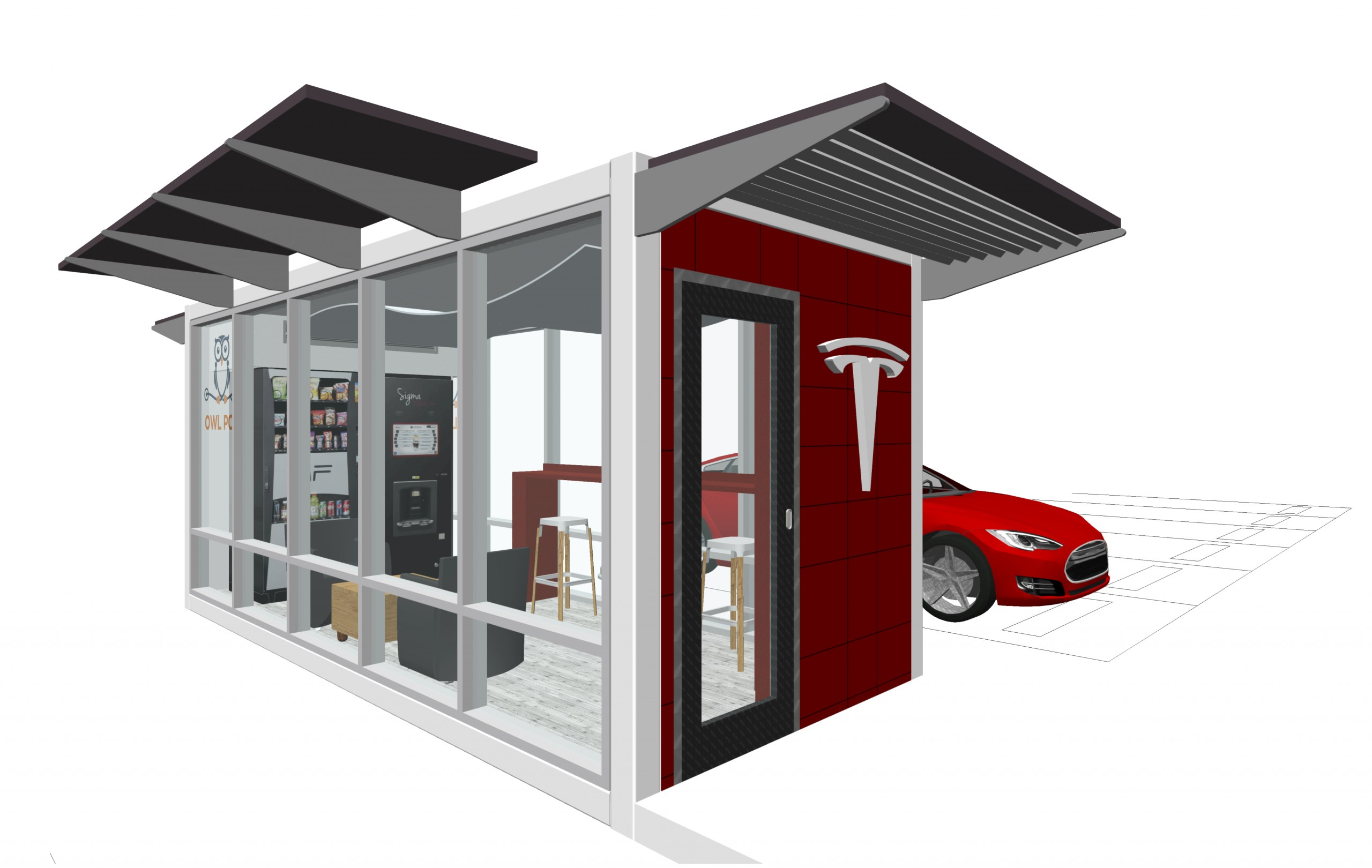 Exterior rendering showing solar panel roof, white modular steel and glass construction with red accents and electric vehicle in background.